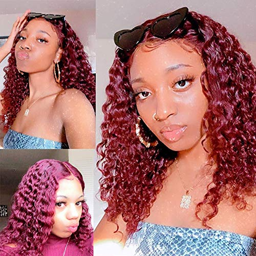 Peruvian Human Hair Wigs 13x4 Pre Plucked Lace Front Wigs Human Hair Deep Curly Lace Front Wigs With Baby Hair,Deep Part Lace Frontal Wigs Wet And Wavy Curly Lace Wigs For Black Women 8 Inch Burgundy