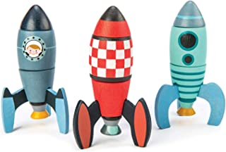 Rocket Construction Toy Set - 18 Pc Wooden Construction Set Builds 3 Rocket Ships - Made with Premium Materials and Craftsmanship - Develops Problem Solving Skills and Imaginative Play - 3+ Years