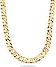Miabella Solid 18K Gold Over Sterling Silver Italian 9mm Solid Diamond-Cut Cuban Link Curb Chain Necklace For Men, 18, 20, 22, 24, 26, 30 Inch 925 Sterling Silver Made in Italy