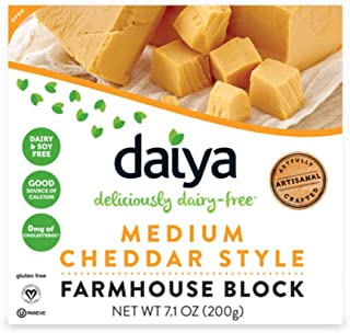 Daiya Deliciously Dairy Free Medium Cheddar Style Block Cheese, 7.1 Ounce (pack Of 8)