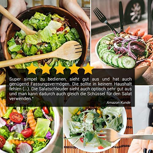 Lacari ® Salatschleuder mit großem [5L] Fassungsvermögen – Optimaler Salattrockner mit Ablaufsieb - Einfaches Bedienen durch Drehen der Kurbel - 7