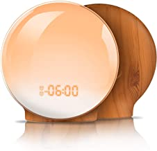 Wake Up Light,TITIROBA Sunrise Simulation Dual Alarms Clock Aid Sleep Snooze Function 8 Colors Night Light 7 Natural Sounds & FM Radio,USB Charge Port-AM/PM Wood Grain