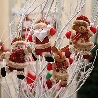 winemana Christmas Tree Ornaments Set for Xmas Home Party Decor, Christmas Hanging Snowman Elk Santa Claus Decorations,2 p...