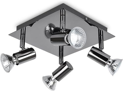 MiniSun Plafonnier Carré à 4 lampes. Finition en noir et chrome polis.