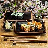 Japanische Sushi-Teller Mit Sauce Teller Und Stäbchen In Schwarz Tenmoku Glasur Gesetzt