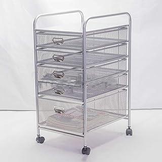 LILIS Caisson de Bureau,Caisson de Rangement 5 grille rack fichier A4 panier, art Fer à 5 couches tiroir panier porte-fich...