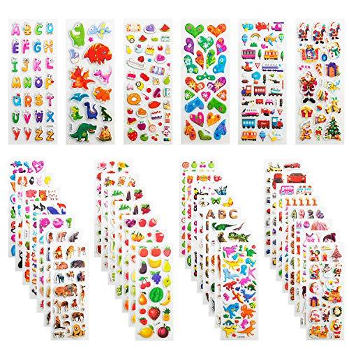3D Aufkleber für Kinder & Kleinkinder, Leenou 950+ Geschwollen Stickers für Jungen Mädchen Lehrer, Niedliche Verschiedene Set Buchstab en, Tier, Obst, Zahlen, Fische, Dinosaurier (36 Bogen)