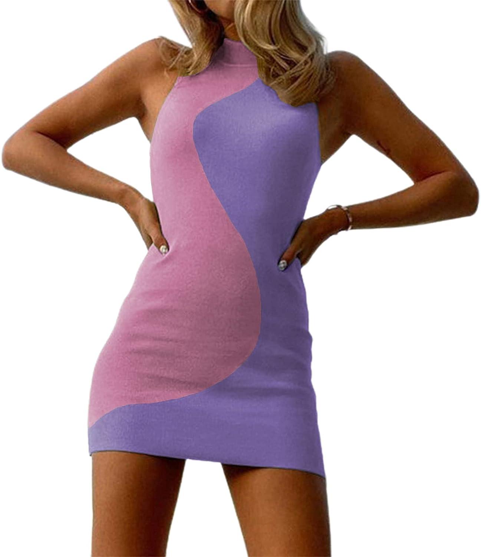 Women Sexy Bodycon Dress Y2K Knitted Mini Dress Halter Sleeveless Ribbed Tank Dresses Streetwear