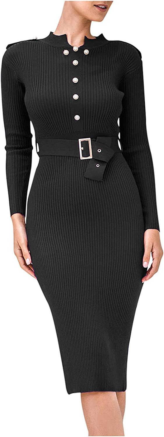 A2A Women's Puffy Long Sleeve Dresses Buttons Down Pullover Knit Sweater Dress Square Neck Ribbed Slim Knee Length Dress