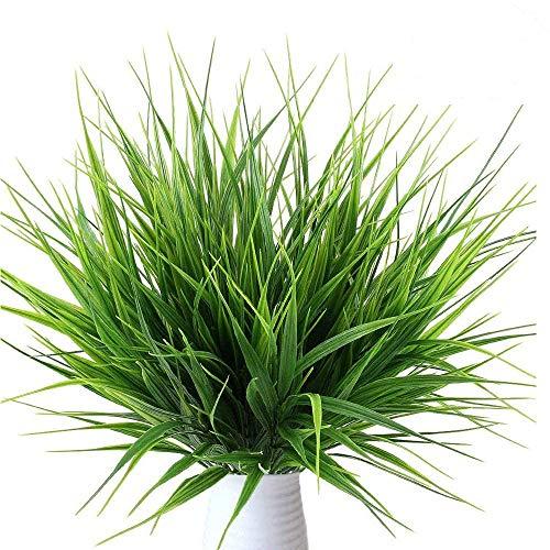 Mu Mianhua 10 ramos de flores artificiales de plástico para plantas de trigo artificiales, para exteriores, hogar, mesa, cocina, oficina,...