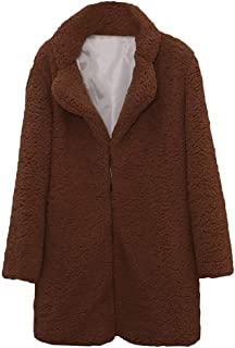 Xinantime Womens Casual Solid Color Outercoat Long Sleeve Notch Neck Faux Fur Coat Outwear Blouse Tunic