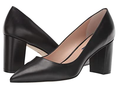 Stuart Weitzman Laney 75 Block Heel (Black Smooth Calf) Women