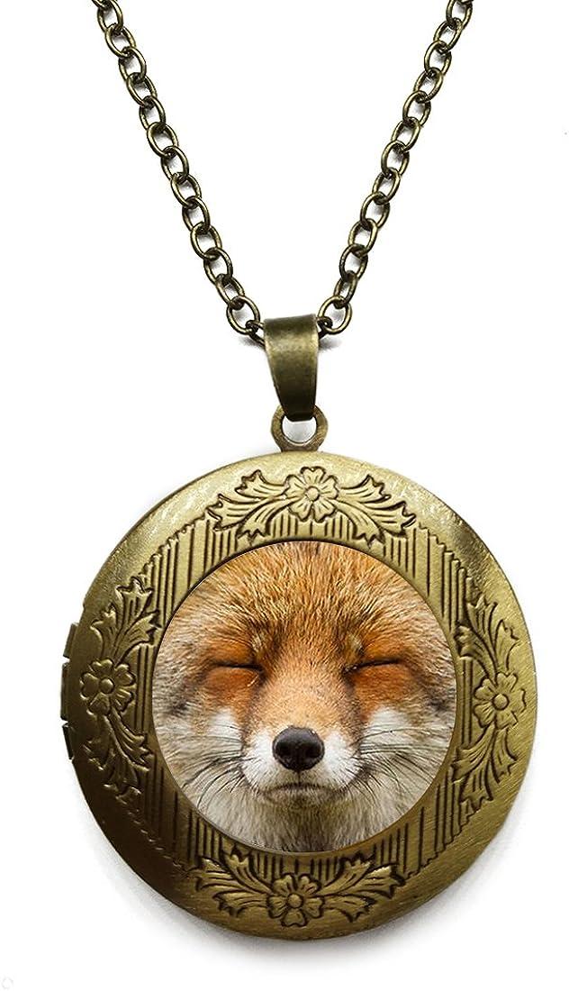 Vintage Quality inspection Bronze Tone Locket El Paso Mall Picture Necklace Pict Fox Pendant Art