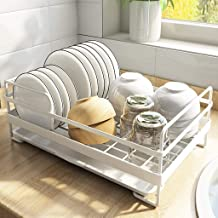 Large White Dish Bowl Drainer Rack, Metal Kitchen Drying Rack Organization Shelf, with Removable Drip Tray Kitchen Storage...