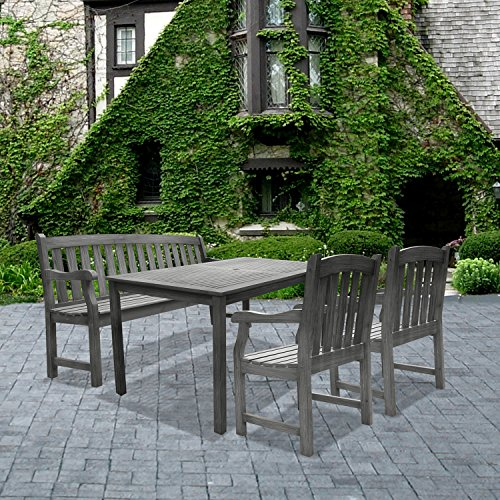 VIFAH Renaissance Outdoor 4-piece Hand-scraped Wood Patio Dining Set with 5-foot Bench,