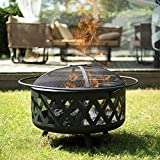 CO-Z 30-Inch Outdoor Fire Pit | Large Round Wood Burning Fire Pit | Cross Weave Portable Fire Pit for Outside Patio Backyard Camping Bonfire More with BBQ Grill, Screen, Poker, Waterproof Cover