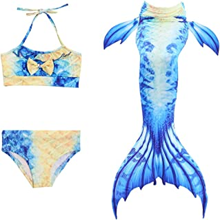 Wiwsi Mermaid Tail Swimsuit Bathwear Kids Girls Cosplay Beach Swimming Bikinis
