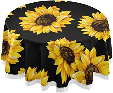 Baofu Sunflower Round Tablecloth Polyester Circular Beautiful Table Cloth Water Resistant Spill Proof Large Colorful Vintage Table Cover for Dining Kitchen Party 60inch