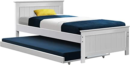 Artiss King Single Bed Frame, Pind Wood Trundle Bed Base, White