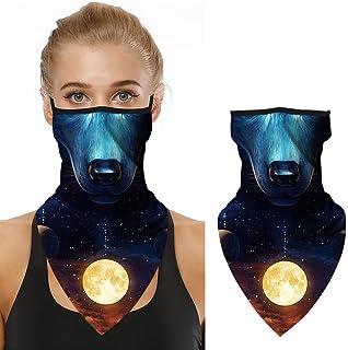 Moyabo Face Bandana Mask Ear Loops Face Rave Balaclava Men Women Neck Gaiters for Motorcycle Riding Hiking Mask