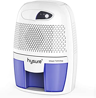 Hysure Portable Mini Dehumidifier 2201 Cubic Feet Electric Safe Dehumidifier for Bedroom Home Crawl Space Bathroo RV Baby Room White