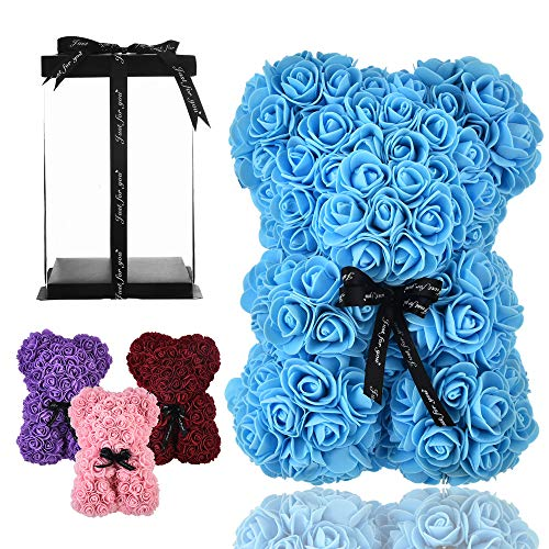 Osito oso rosa osito oso rosas oso de rosas regalos para mamá mujeres sus regalos para niñas adolescentes aniversario regalos madre, oso de rosa hecho a mano flor Valentín - oso rosa con caja (azul)