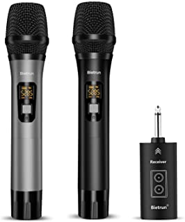 Wireless Microphone with Bluetooth, UHF Wireless Dual Handheld Dynamic Metal Mic System with Rechargeable Receiver, 160ft ...