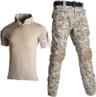 CFDGHIRY Men Tactical Camouflage Uniform Combat Shorts Sleeve Shirt Cargo Pants
