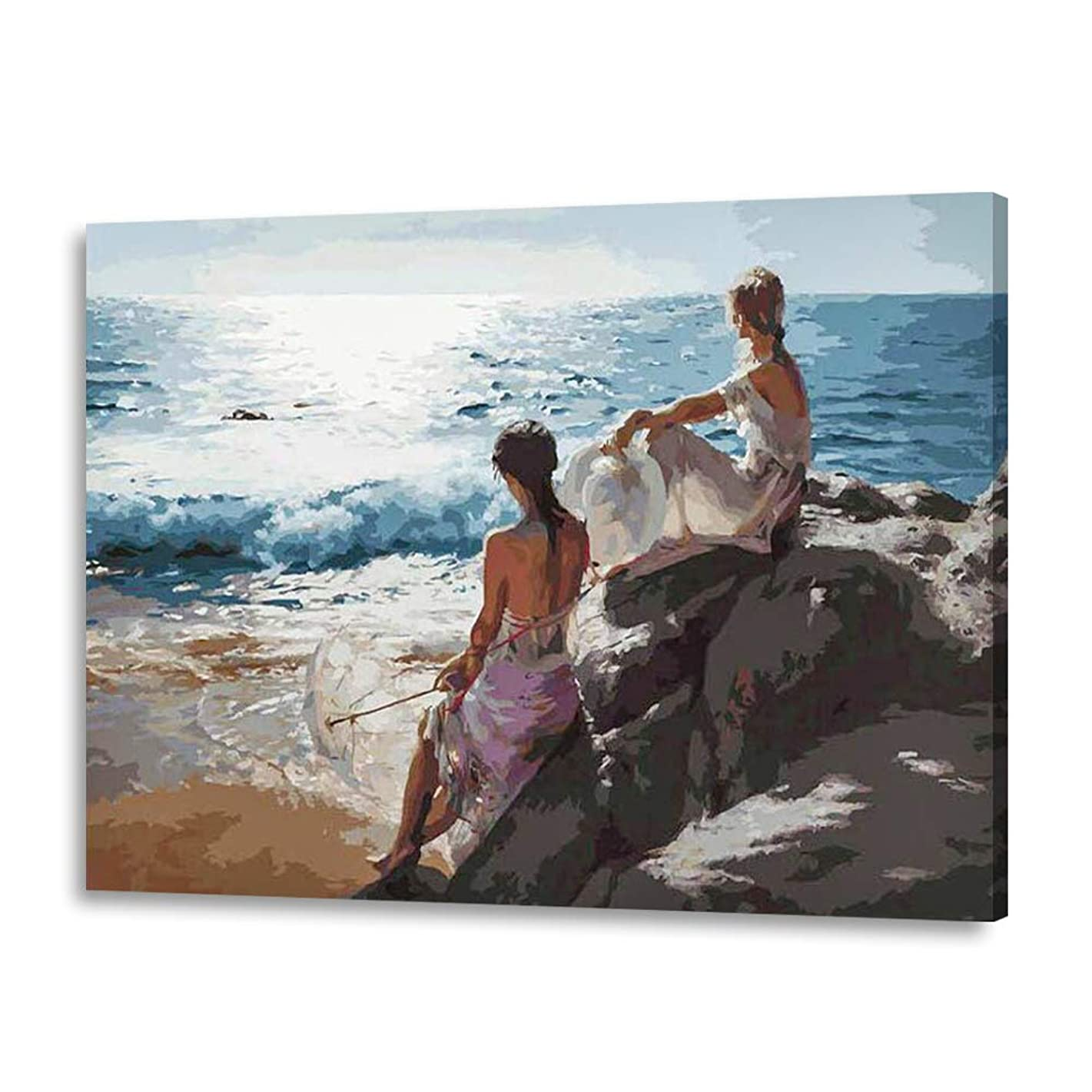 LIUDAO Paint by Number Kit - DIY Oil Painting on Canvas - Beautiful Girls Beach 16x20 Inches (Wooden Frame)