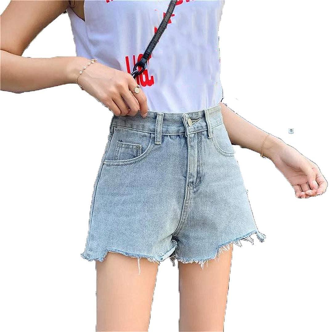 Summer Women Wide Leg Vintage Denim Shorts Casual Frayed Loose Ins Jeans Shorts