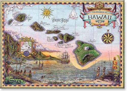Pacifica Island Art Kühlschrank Magnet mit Hawaiianischem Motiv - Map of Old Hawaii von Steve Strickland