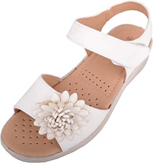 ABSOLUTE FOOTWEAR Womens Slip On Wide Fitting Summer/Holiday Sandals/Shoes with Flower Design