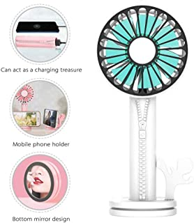 3 in 1 Handheld Fan, USB Multifunctional Portable Fan, Separable Design, As a Mobile Phone Stand - Emergency Charging Treasure - Makeup Mirror, 2000mAh and 3 Wind Speeds