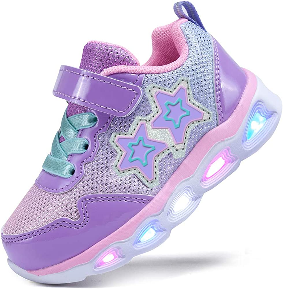NEWMALL Toddler Girls Shoes Kids Light Up Flashing Sneakers