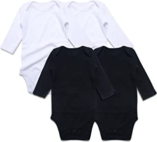 Baby Long Sleeve Bodysuits 4-Pack Pure Color Newborn Unisex Undershirts 0-24 Months