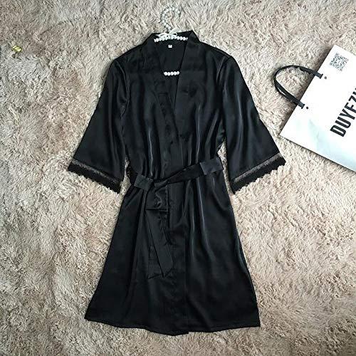 JFCDB Zomer pyjama,Nieuwe Satijn Vrouwen Slaap Set Nachtkleding Lente Lange Mouwen Pyjama Pyjama Set Sexy Gewaad Kimono Badjas Casual Nachtkleding, zwart gewaad, XL
