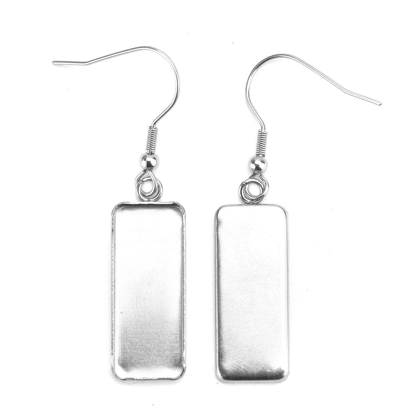 Monrocco 20Pcs Cabochon Earring Settings, Earring Blanks Earring Wire Hooks Blanks for 25mm x 10mm Cabochon Settings (Silver)
