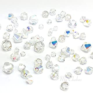 72 pcs Swarovski 5328 / 5301 Mixed Sizes in 3mm 4mm 5mm 6mm Xilion Bicone Beads CRYSTAL AB (001 AB) **FREE Shipping from Mychobos (Crystal-Wholesale)**