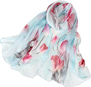 Silk Scarf Women Ladies 100% Silk Scarves Lightweight Elegant Gifts