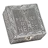 Forever in My Heart Silver Color Metal Jewelry Keepsake Decorative Box
