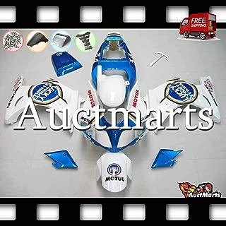 Auctmarts Fairing Kit ABS Plastics Bodywork with FREE Bolt Kit for Suzuki SV650 SV 650 SV1000 SV 1000 2003 2004 2005 2006 2007 2008 2009 2010 2011 White Metal Blue Gold Lucky Strike (P/N:2s1)
