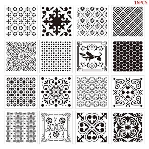 Yiwann DIY sjablonen sjabloon, 16 Stks Set Airbrush Schilderen Stencil DIY Scrapbooking Album Craft Herbruikbare gift