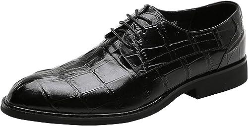Oudan zapatos de Vestir de Negocios con Cordones para hombres zapatos de Trabajo Forrados de Cuero (Color   negro, tamaño   39EU)