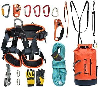 Juego al aire libre Arnés de medio cuerpo Ajustable 105 mm Cuerda de escalada Montaña Ascenso/caída Equipo Rappelling de gran altitud Caída de cables Juego de rescate (Color : UN, tamaño : 10m)