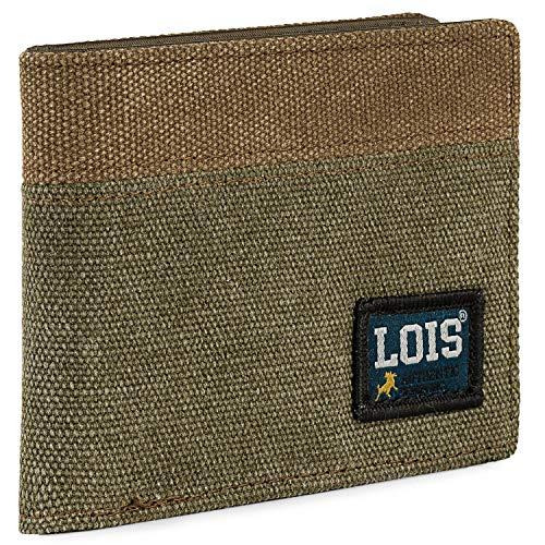 Lois - Cartera de Hombre Juvenil de Lona con Monedero, Tarjetero y Billetera. Compartimentos Traslúcidos para Documentación. Protección RFID. 203711, Color Kaki