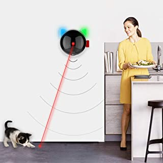 Goolfly Automatic Cat Toy USB Rechargeable Red Dot LED Pointer Rotating Moving Electronic Pen LED Light Interactive Cat Ch...