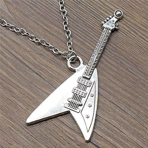BEISUOSIBYW Co.,Ltd Collar Bienvenido 77x32mm Colgante de Guitarra eléctrica Collar Antiguo Collar de Color Plateado