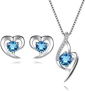 EVERU Conjunto de Joyas Corazón de Plata 925 para Mujeres, Juego de Collar y Aretes Brillante Circonita Regalos Originales...