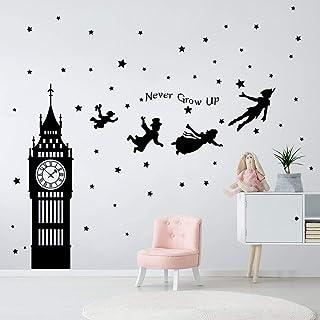 decalmile Pegatinas de Pared Peter Pan Big Ben Estrellas Vinilos Decorativos Niños Letras Adhesivos Pared Habitación Infantil Bebe Dormitorios