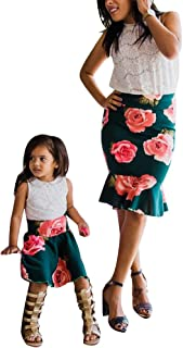 Mommy and Me Dresses Casual Floral Family Outfits Stripe Stitching Skirt Beach Maxi Dresses